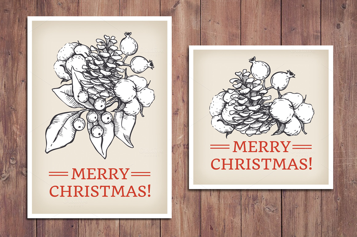 Vintage Christmas Cards Hand Drawn Templates On