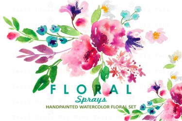 watercolor clip floral sprays flowers flower girly clipart water graphics watercolors feminine smallhousebigpony illustrations creative market colors