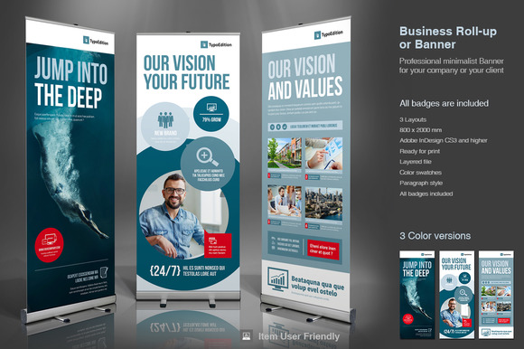 Corporate Roll Up Or Banner Flyer Templates On Creative