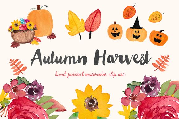 autumn harvest watercolor clip