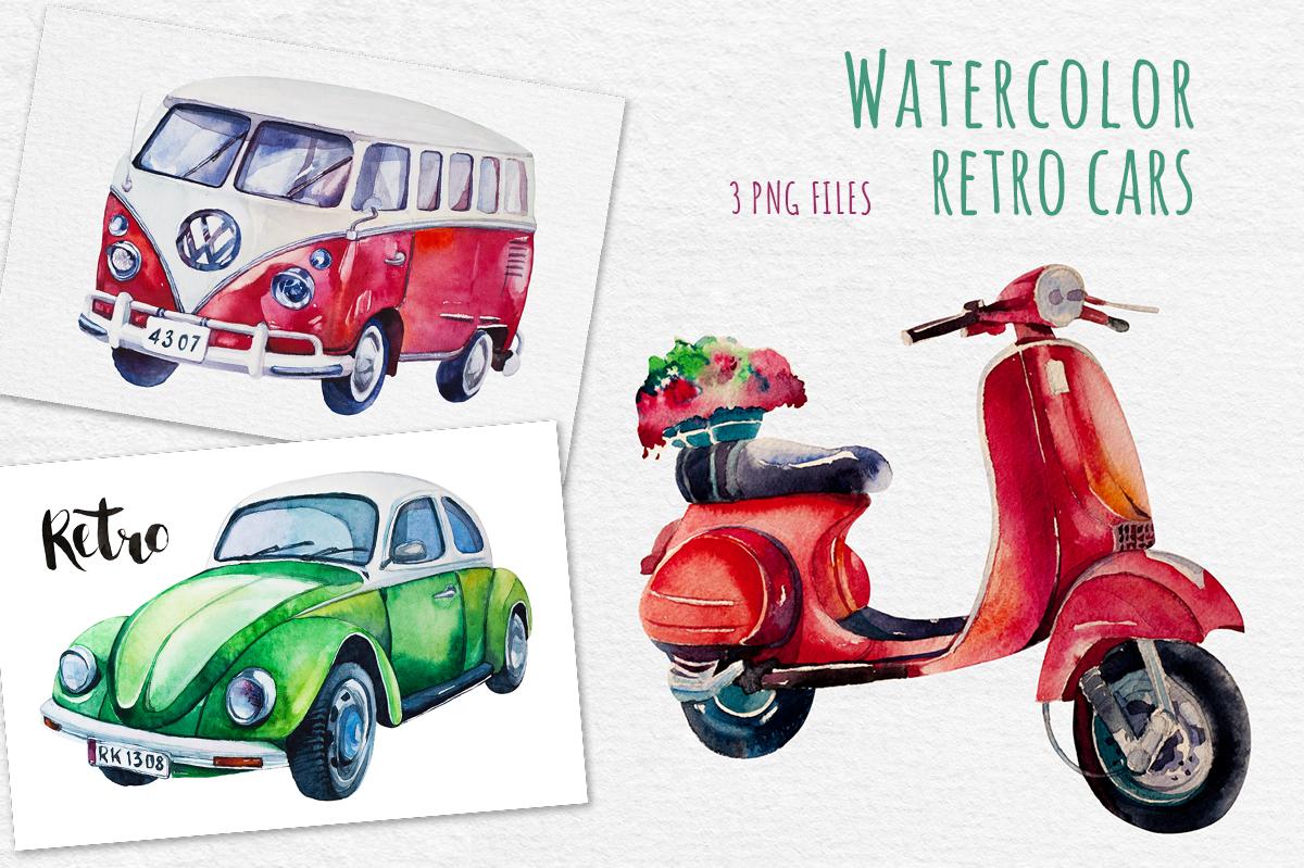 Watercolor Cars Objects On Creative Market