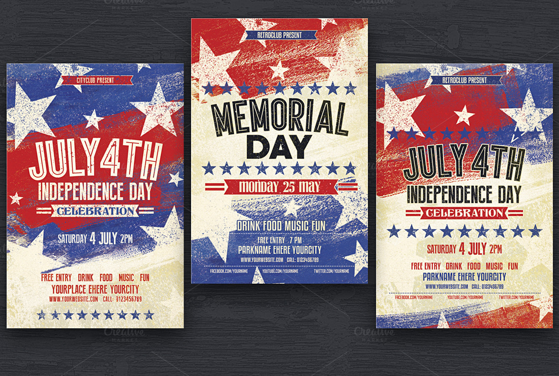 July 4th Memorial Day Flyers Flyer Templates On Creative Market