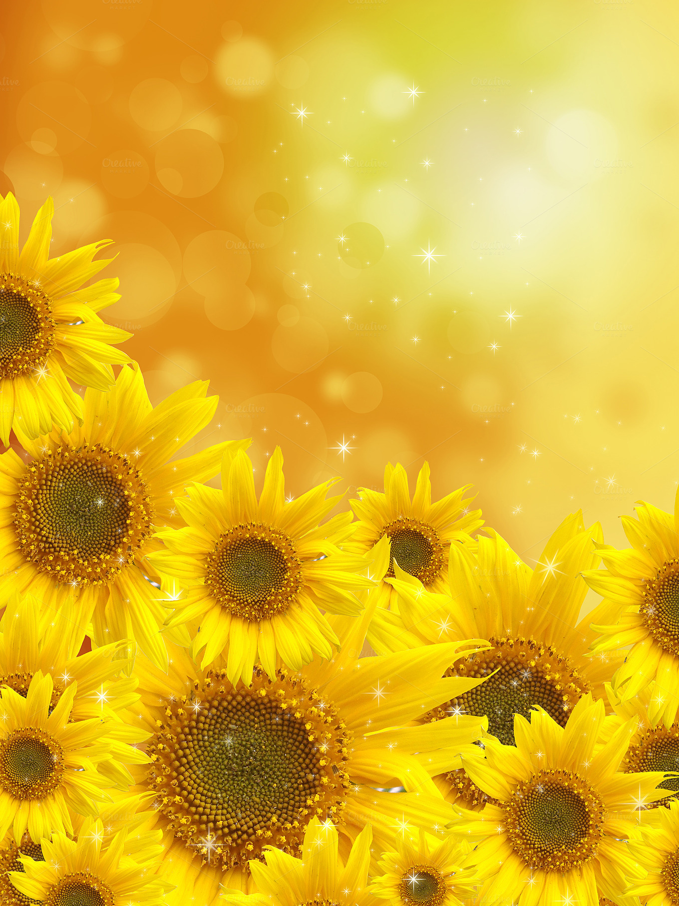 Sunflowers On Blurred Background Abstract Photos On Creative Market
