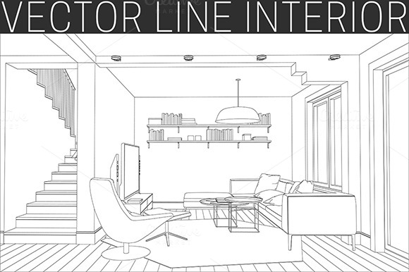 Line drawing of the living room  Illustrations on