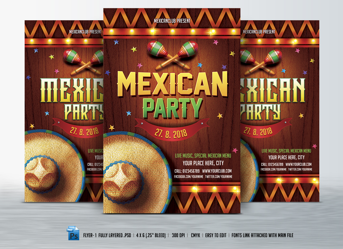 Mexican Party Flyer Flyer Templates On Creative Market