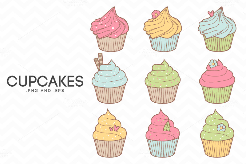 cupcakes clip art vector illustrations