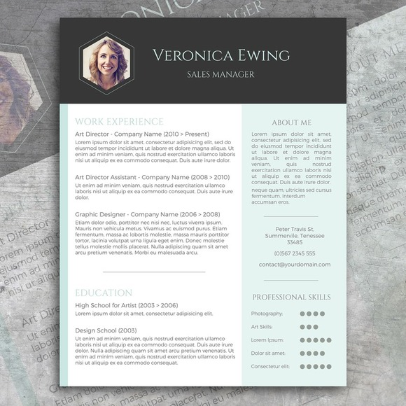 Honeycomb CV  Free Cover Letter  Resume Templates on Creative Market