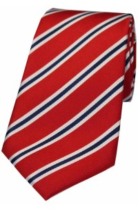 Soprano Red White and Blue Striped Silk Tie