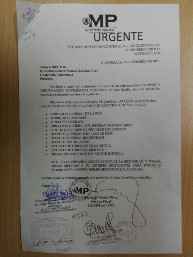 Esta es la circular que el MP envió a PNC para alertarla sobre posibles ataques.