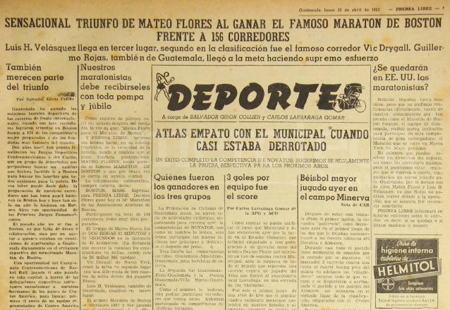 Nota de la sección de Deportes de Prensa Libre del 21 de abril de 1952 donde se informaba del triunfo de Mateo Flores en la Maraton de Boston. (Foto: Hemeroteca PL)