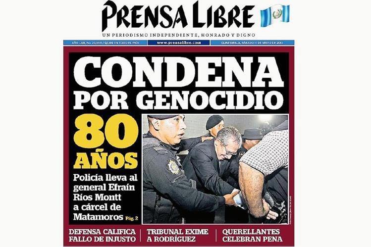 Portada de Prensa Libre del 11 de mayo de 2013, informando sobre la sentencia. (Foto Prensa Libre: Hemeroteca)