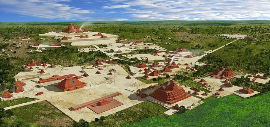 Imagen artística de El Mirador, donde se construyó la pirámide La Danta. Arte Prensa Libre: Proyecto Cuenca Mirador.