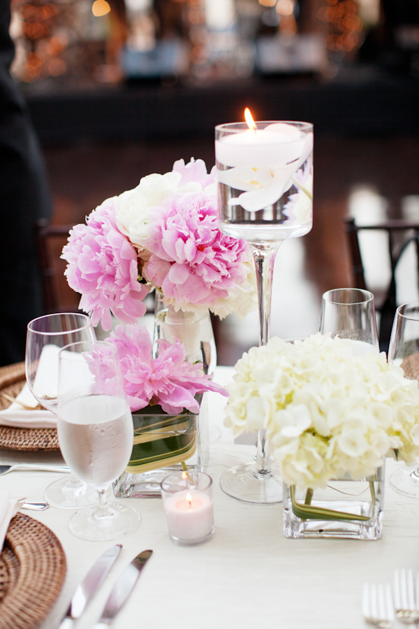 Southern weddings  peony centerpieces