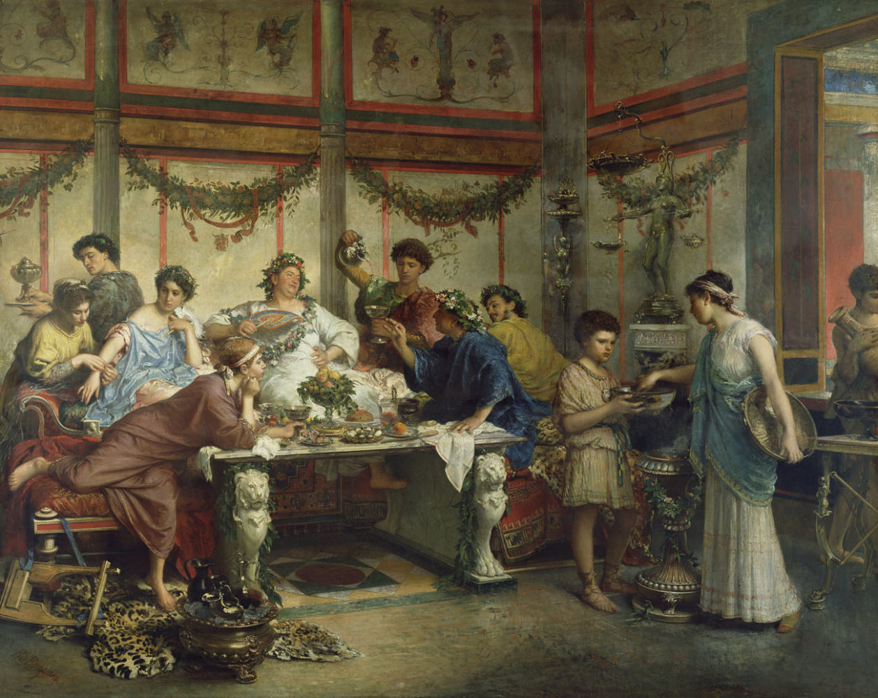 hight resolution of reclining and dining and drinking in ancient rome