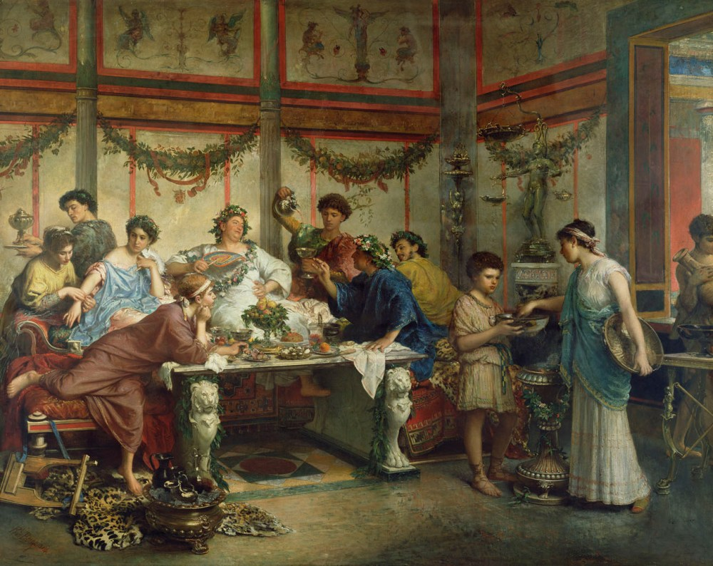 medium resolution of reclining and dining and drinking in ancient rome