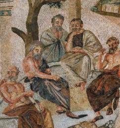 plato holds forth surrounded by four male student philosophers under the shade of trees [ 1600 x 1111 Pixel ]