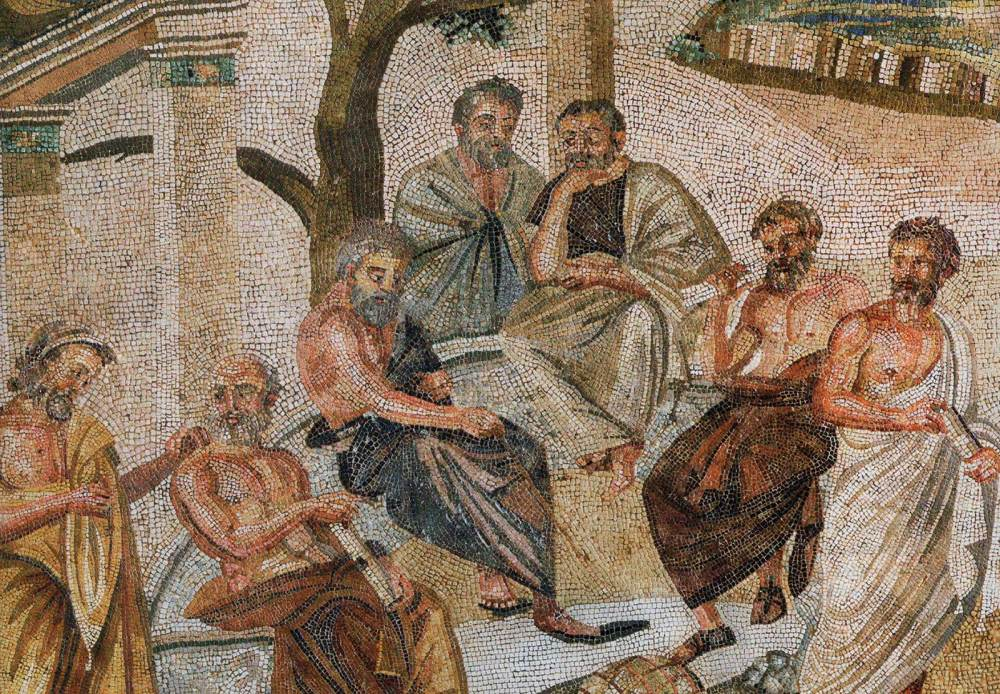 medium resolution of plato holds forth surrounded by four male student philosophers under the shade of trees
