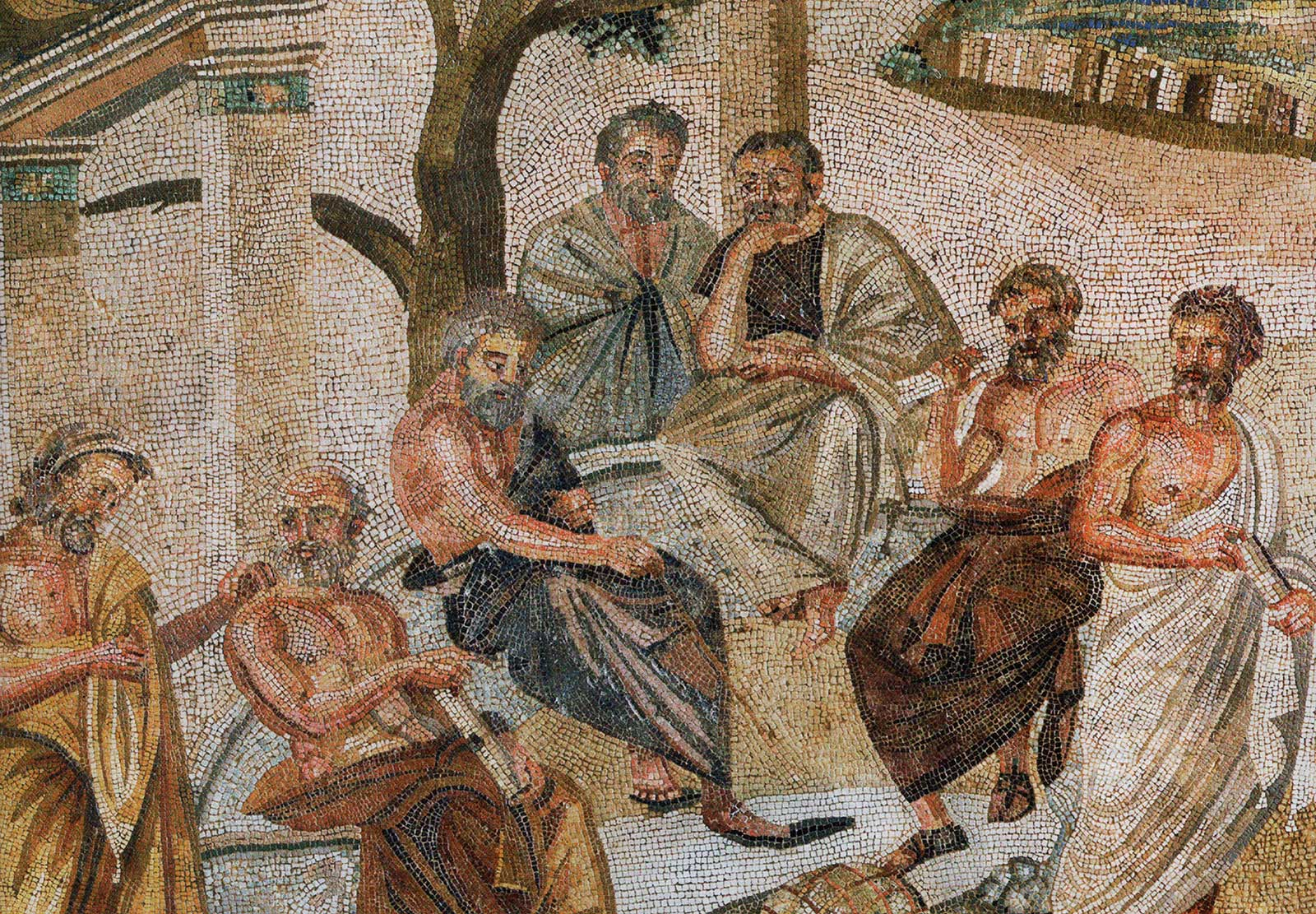 hight resolution of plato holds forth surrounded by four male student philosophers under the shade of trees