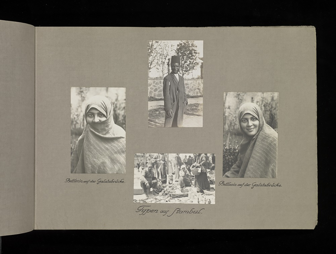 A page in an album featuring 4 images. 2 separate images are of a female with a headscarf.