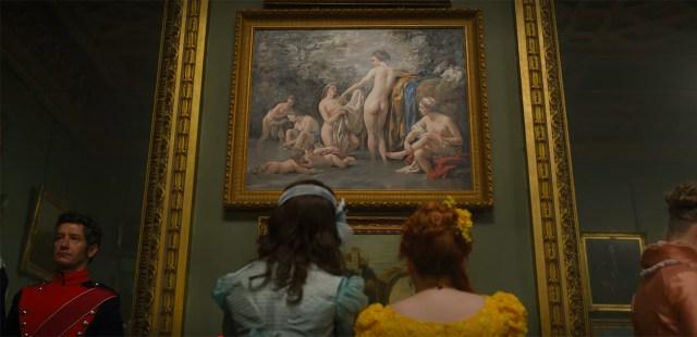 Penelope ed Eloise, tra le protagoniste di Bridgerton, discutono sulla rappresentazione della donna nell'arte, guardando