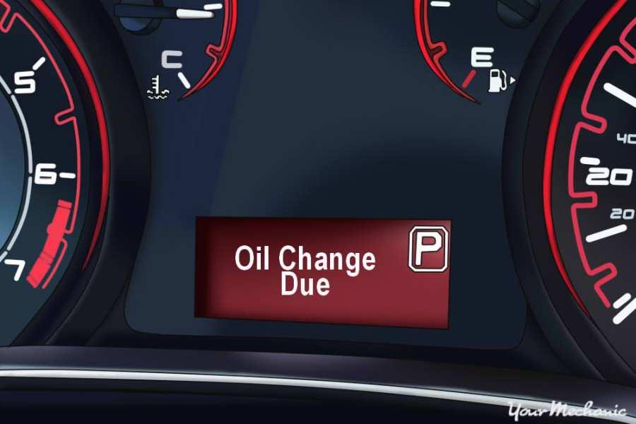 Understanding Dodge Service Indicator Lights - Dodge instrument display with the oil change light on