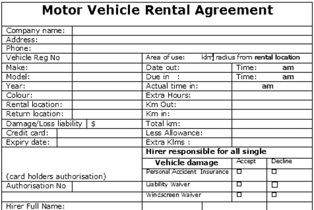Large Car Rental Agreement Form