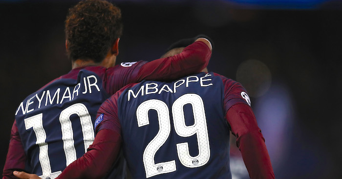 PARIS, FRANCE - NOVEMBER 22: Neymar and Kylian Mbappe of PSG during the UEFA Champions League group B match between Paris Saint-Germain and Celtic FC at Parc des Princes on November 22, 2017 in Paris, France. (Photo by Catherine Ivill/Getty Images)