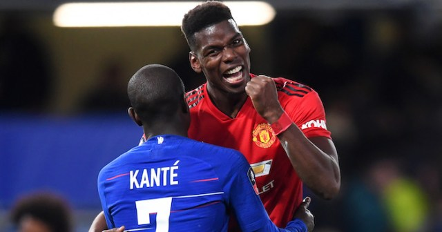 LONDON, ENGLAND - FEBRUARY 18: Paul Pogba of Manchester United jokes with N'golo Kante of Chelsea after the FA Cup Fifth Round match between Chelsea and Manchester United at Stamford Bridge on February 18, 2019 in London, United Kingdom. (Photo by Michael Regan/Getty Images)