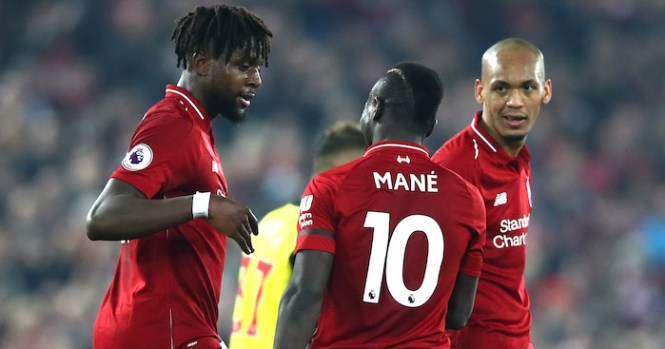 LIVERPOOL, ENGLAND - FEBRUARY 27: Divock Origi of Liverpool celebrates after scoring his team's third goal with Sadio Mane of Liverpool during the Premier League match between Liverpool FC and Watford FC at Anfield on February 27, 2019 in Liverpool, United Kingdom. (Photo by Clive Brunskill/Getty Images)