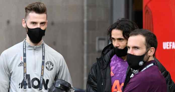 David de Gea, Edinson Cavani, Juan Mata Man Utd May 2021