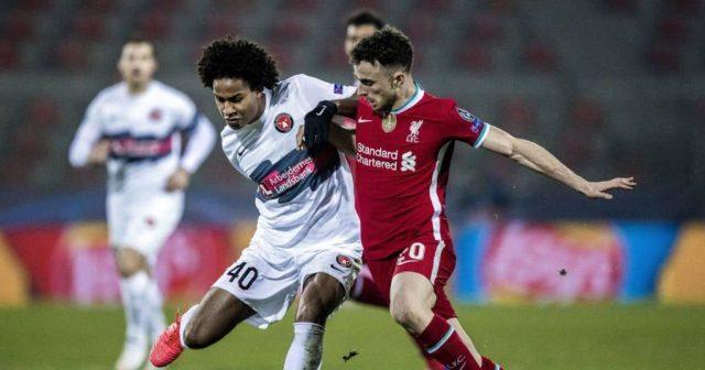 Jens Cajuste, Diogo Jota Midtjylland v Liverpool December 2020