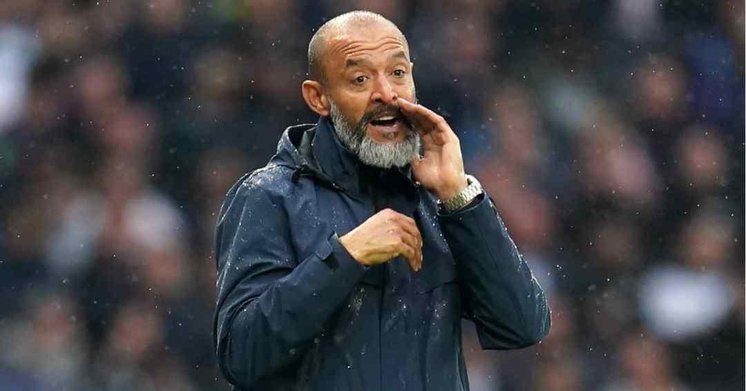 Tottenham manager Nuno Espirito Santo shouting during their Premier League clash with Aston Villa 2021