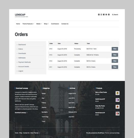 WooCommerce Customer Dashboard Page