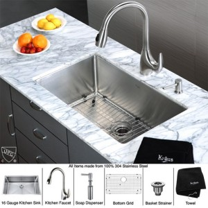 kraus kitchen sinks wooden set for toddlers khu100 30 kpf2170 sd20 inch undermount single bowl stainless steel sink with faucet and soap dispenser