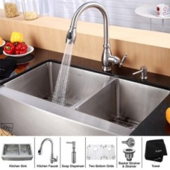 36 Kitchen Sink Victorinox Knife Kraus Khf203 Kpf2150 Sd20 Inch Farmhouse Double Bowl Stainless Steel With Faucet And Soap Dispenser