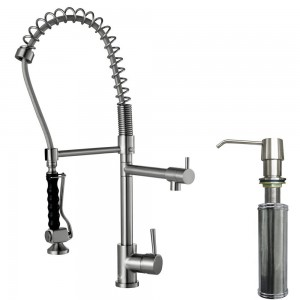 stainless steel kitchen faucet with pull down spray unfinished islands vigo industries vg02007stk2 w soap dispenser