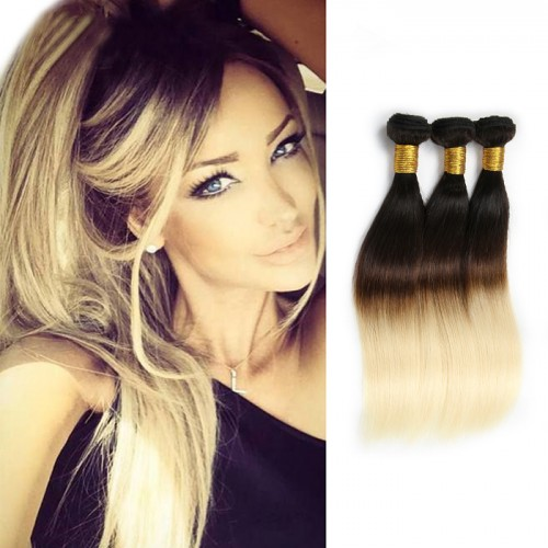 Straight Indian Remy Human Ombre Hair Extensions