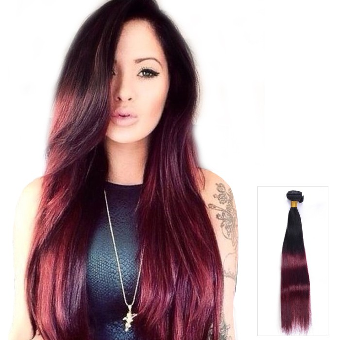 Straight Indian Remy Ombre Human Hair Extensions