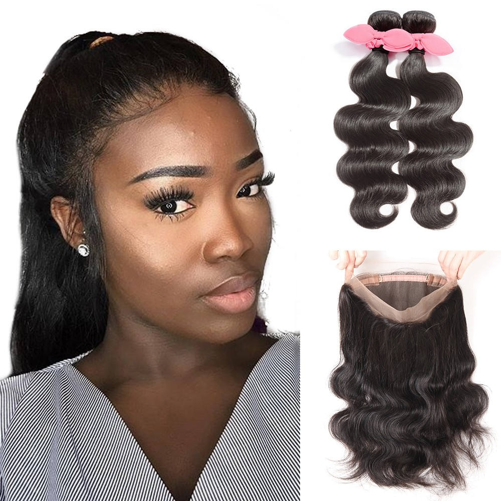 360 Lace Frontal Band With 2 Bundles Virgin Hair