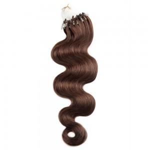 100s 1g/s Body Wavy Micro Loop Hair Extensions #4 Chocolate Brown