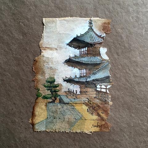 peinture sur thé temple