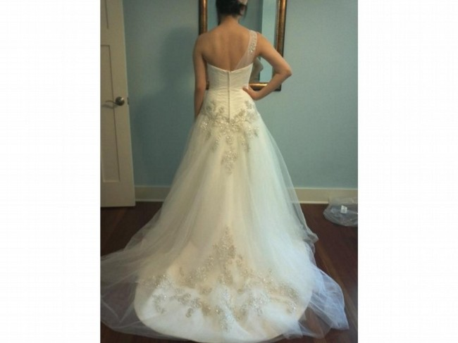 Oleg Cassini One Shoulder Tulle Ball Gown With Lace