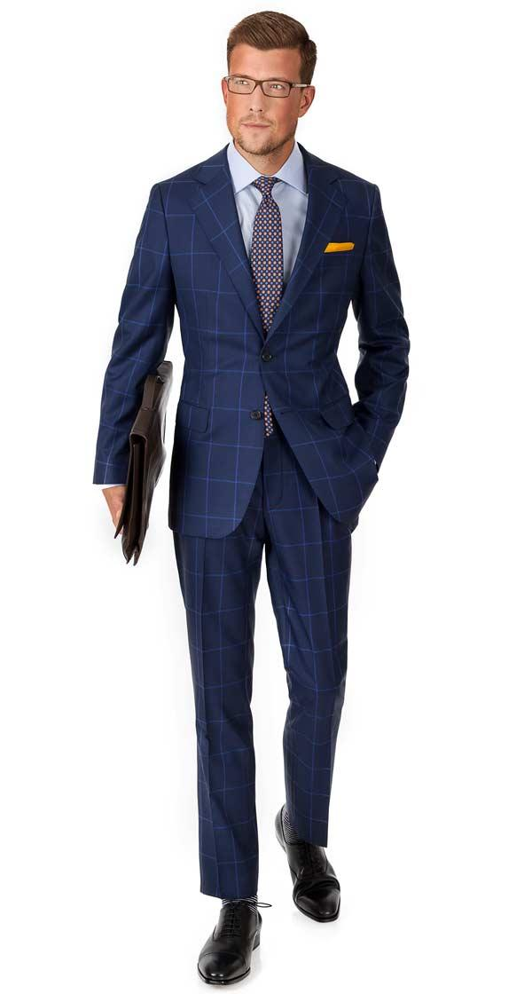 Custom Navy  Blue Suits Tailored in Europe from Fine