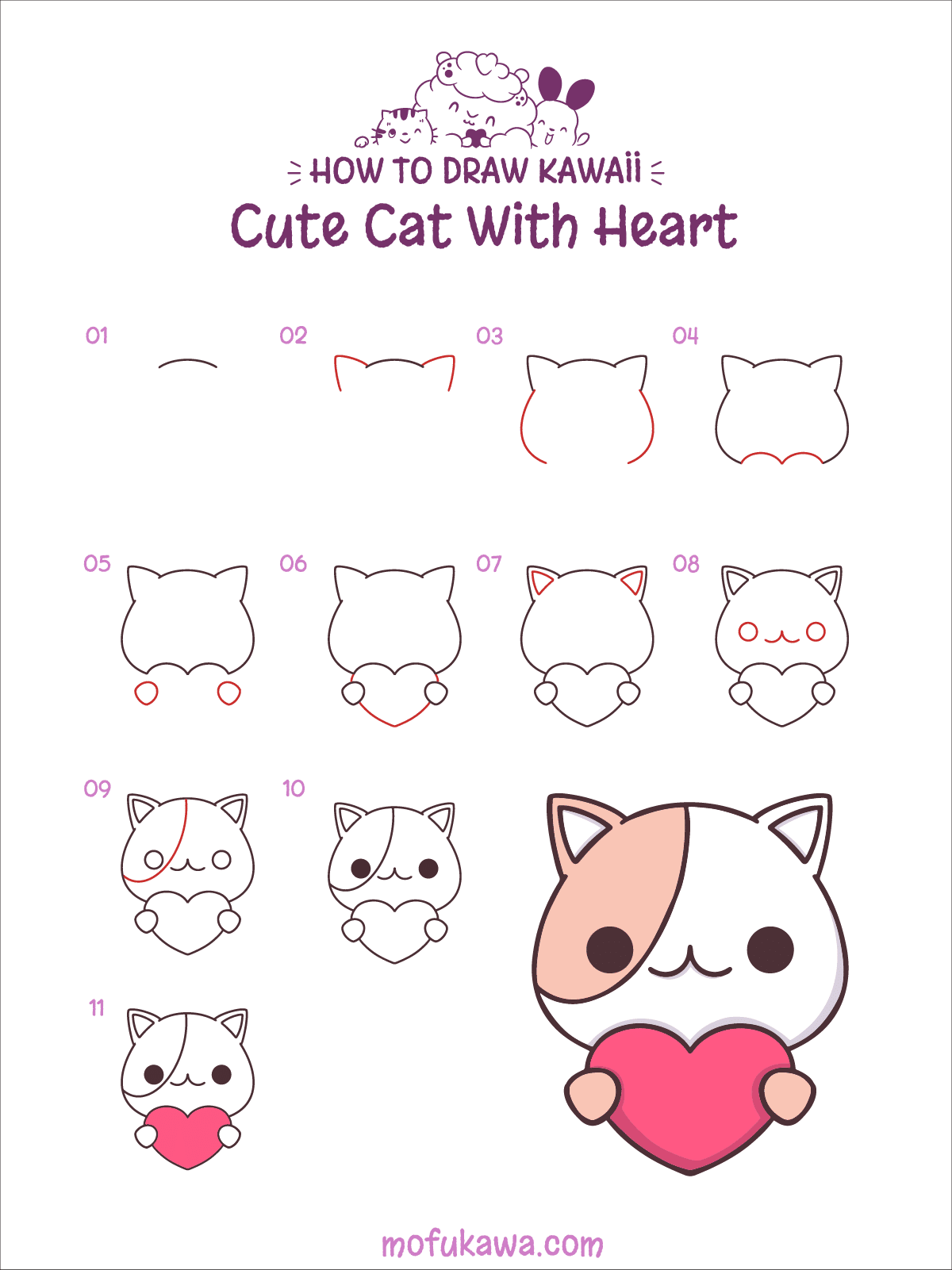 Cute Cat Pictures To Draw : pictures, Heart