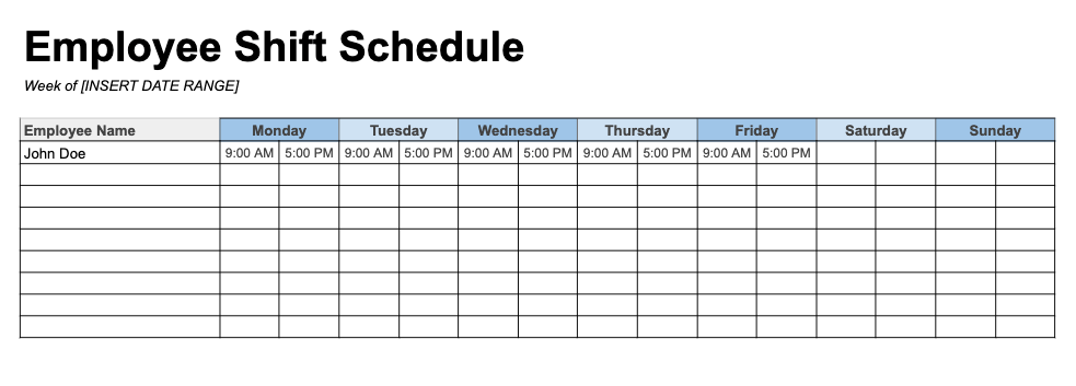 An entire week of worker schedules can be planned with this employee shift schedule for excel. Employee Schedule Templates And Examples Free Download Indeed Com