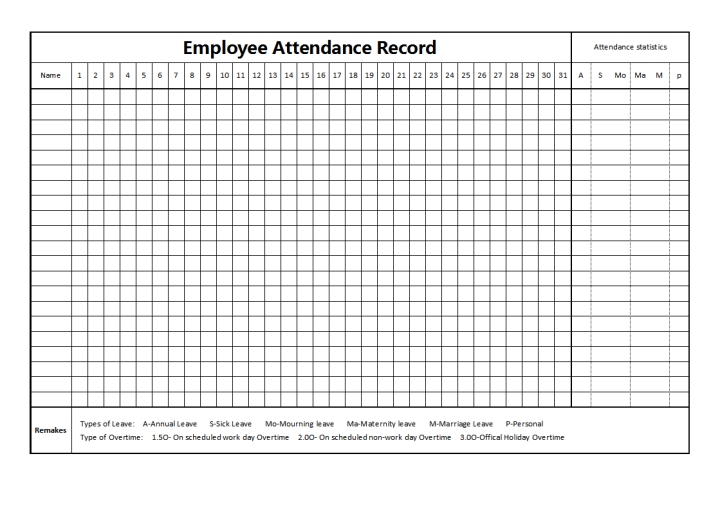 employee attendance records template for 2021, [Printable
