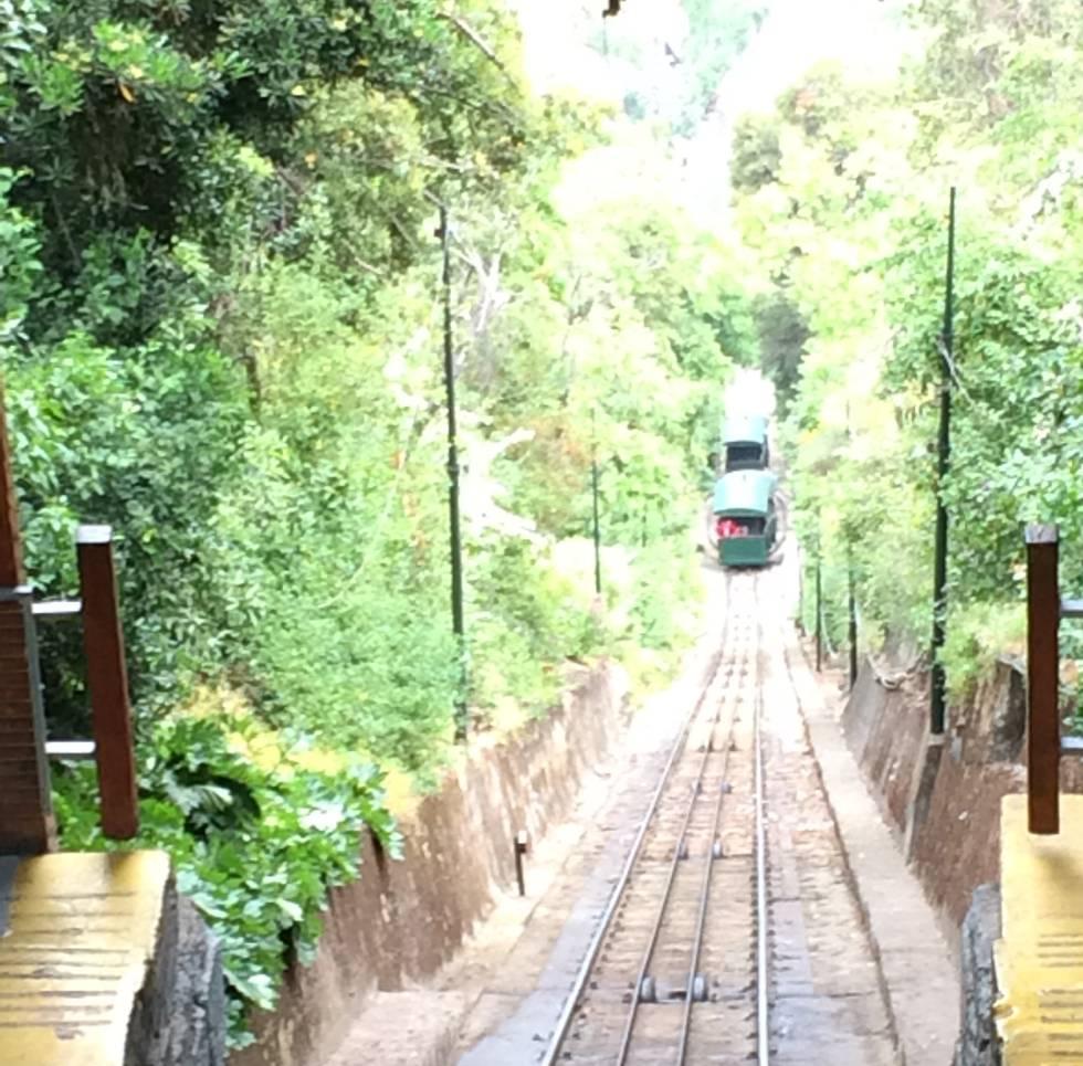 funicular que lleva hasta la cima del cerro del cerro de San Cristóbal.