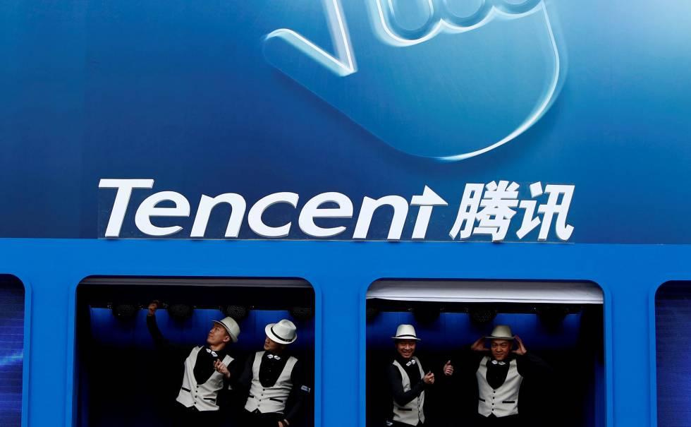 Logo de Tencent en una conferencia en Pekín.