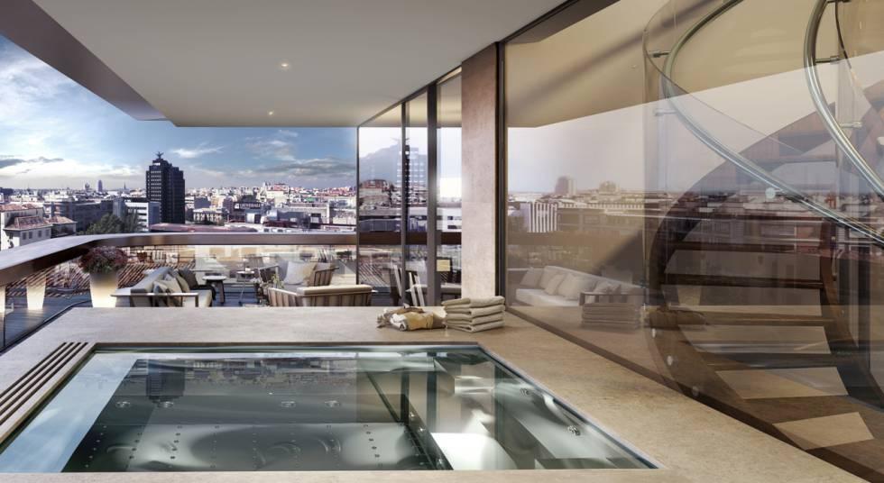 Apartamento con jacuzzi del desarrollo Lagasca 99 en Madrid de Lar España y Pimco.