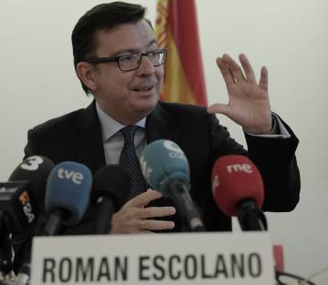 El ministro de Economía, Industria y Competitividad, Román Escolano, este sábado, en el marco de las Reuniones de Primavera del FMI.
